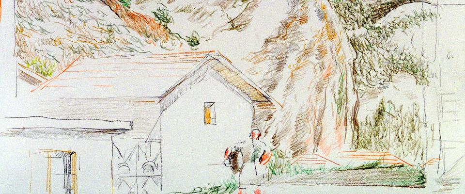 Pirin Cottage Drawing by Nadezhda Kouteva